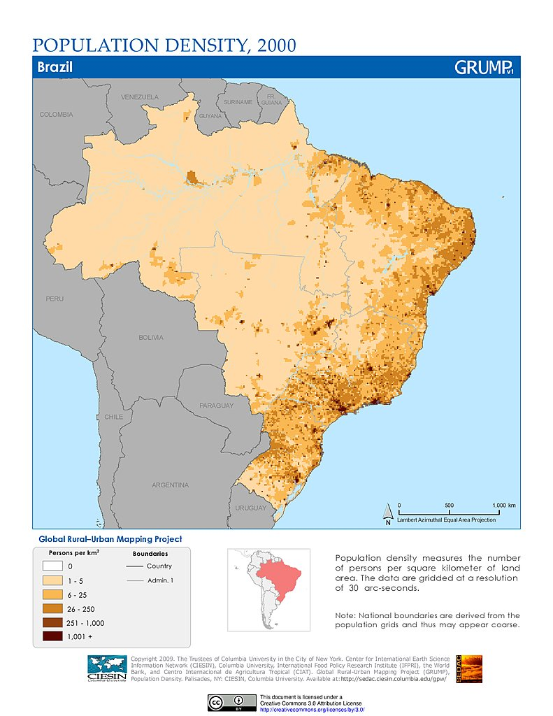 population distribution of brazil Slide 3 of 6 of population in brazil.
