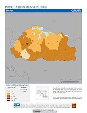 Map: Population Density (2000): Bhutan