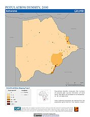 Map: Population Density (2000): Botswana