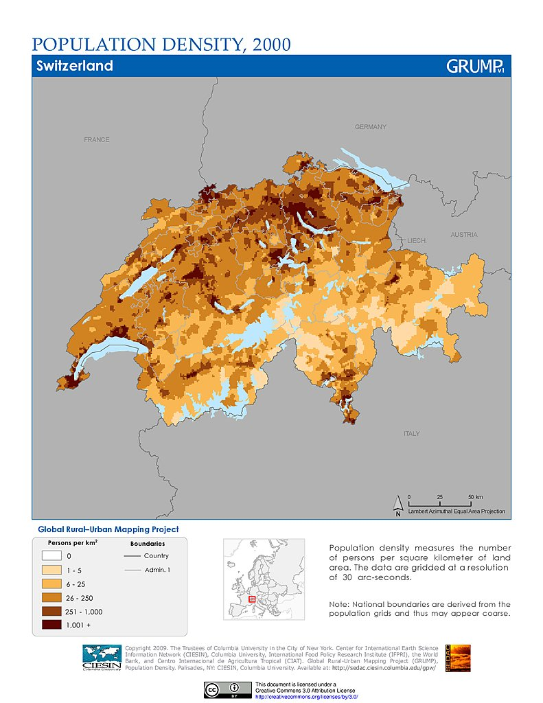Maps Population Density Grid V SEDAC - Population density in switzerland 2015
