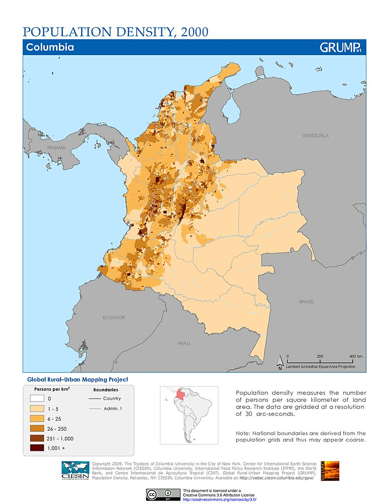 population density 2000 colombia