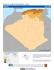 Map: Population Density (2000): Algeria