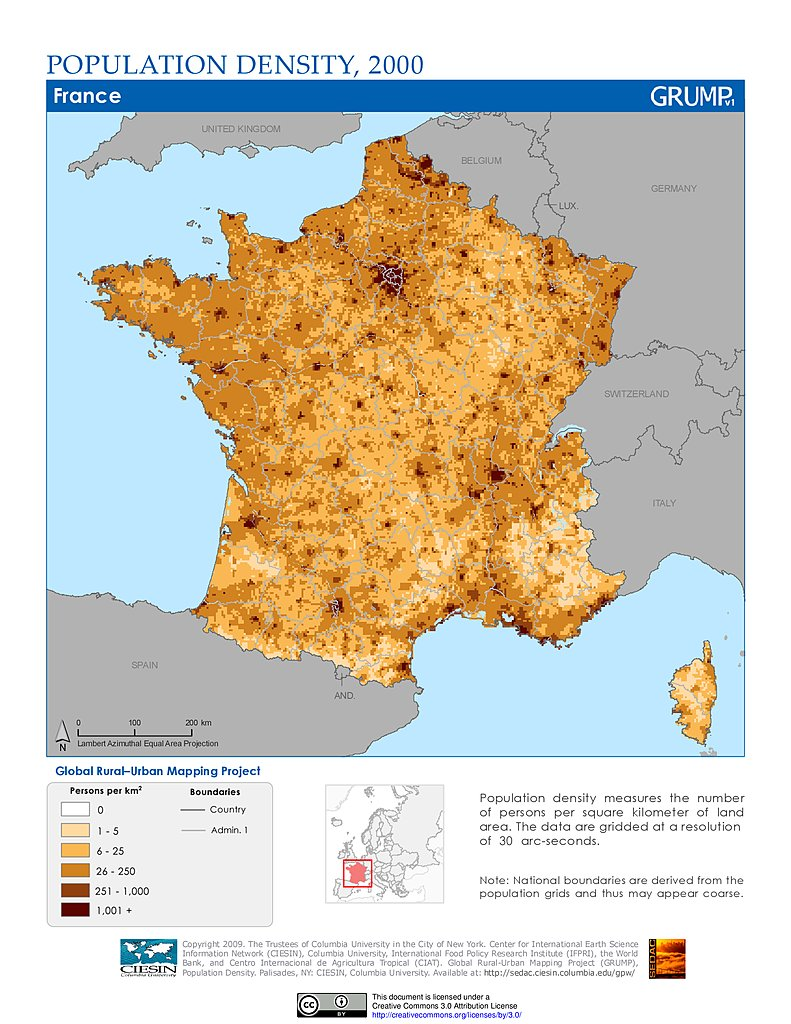 The Map Of France With The City.Maps Population Density Grid V1 Sedac