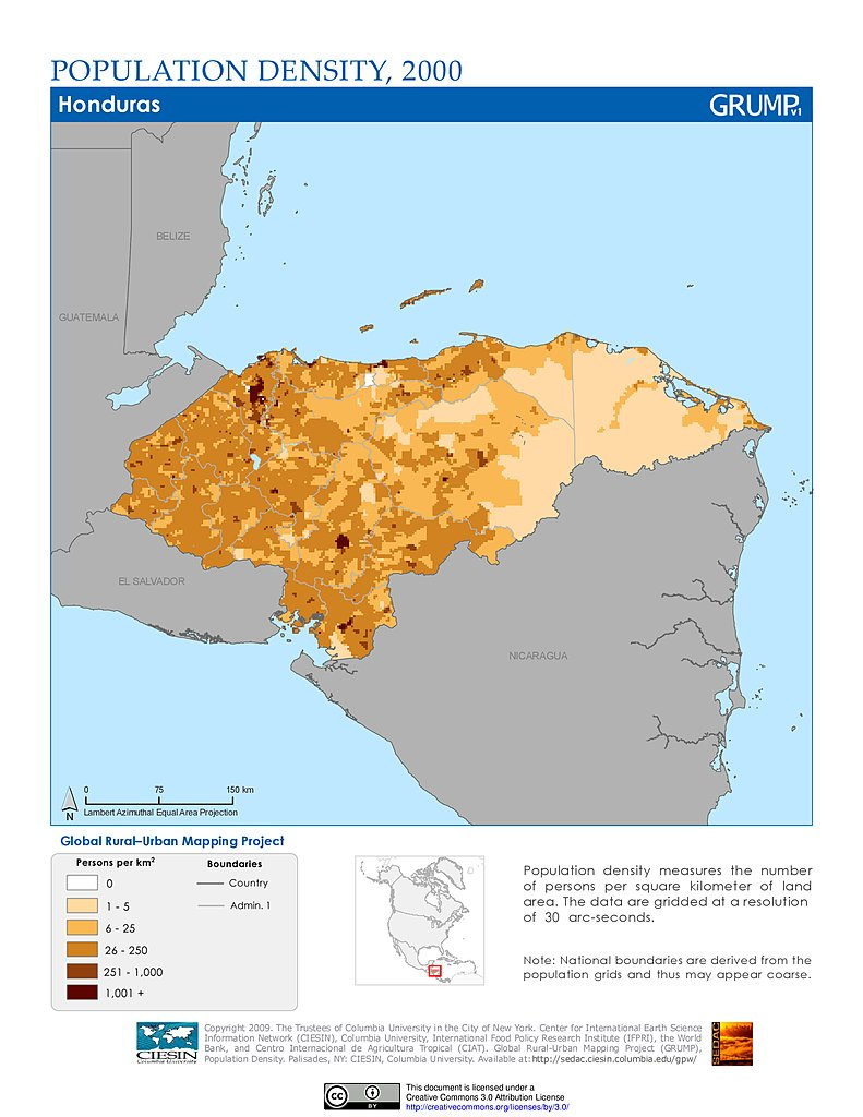 Maps global rural urban mapping project grump v1 sedac population density 2000 honduras gumiabroncs Choice Image