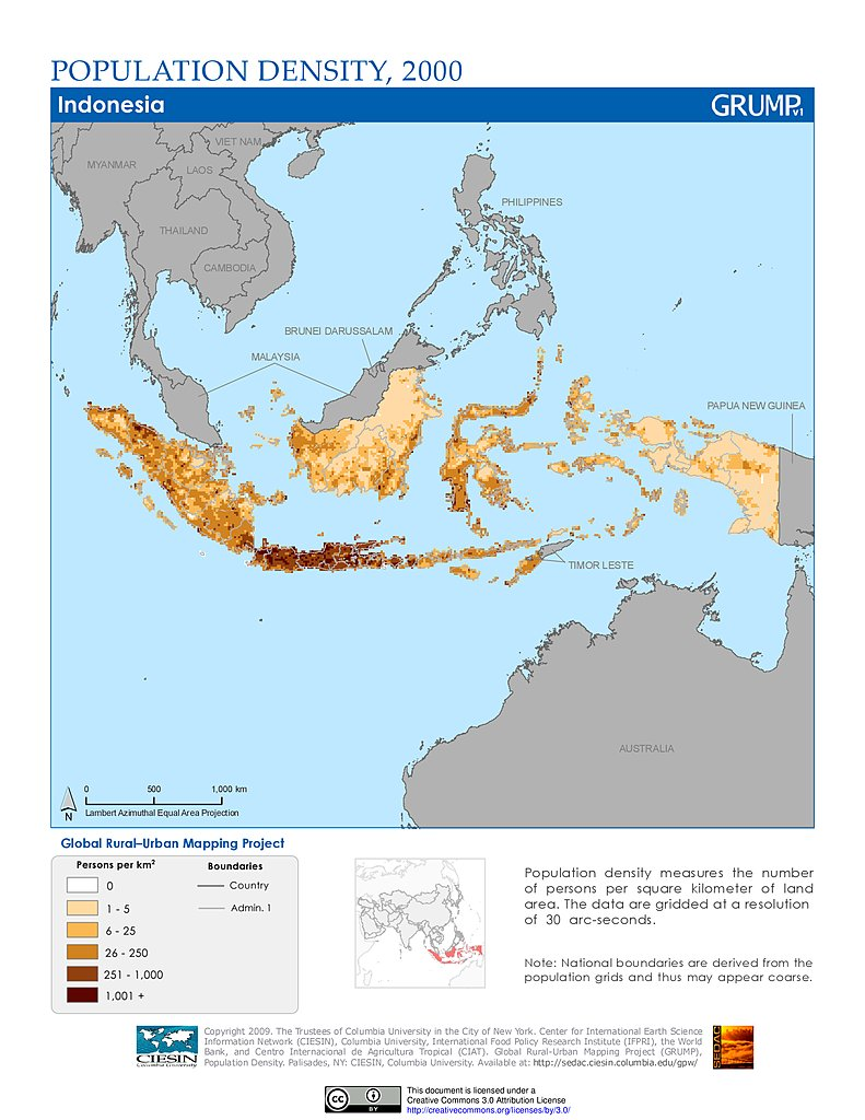Population Map Of Indonesia Maps » Global Rural Urban Mapping Project (GRUMP), v1   SEDAC