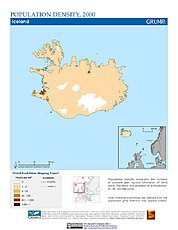 Map: Population Density (2000): Iceland