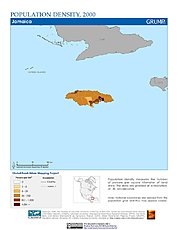Map: Population Density (2000): Jamaica