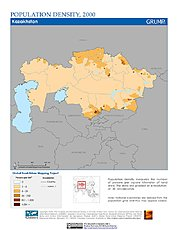 Map: Population Density (2000): Kazakhstan