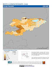 Map: Population Density (2000): Kyrgyzstan