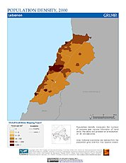Map: Population Density (2000): Lebanon