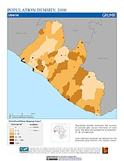 Map: Population Density (2000): Liberia