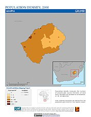Map: Population Density (2000): Lesotho