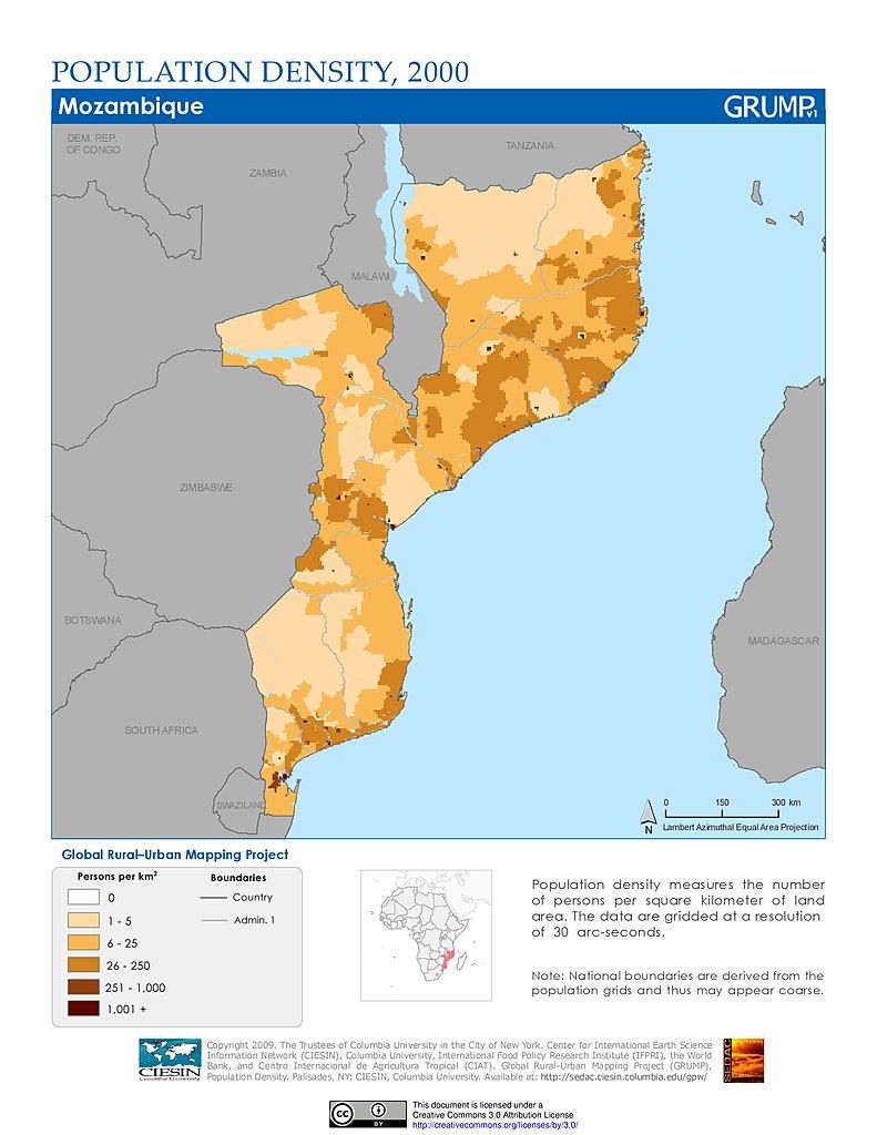 Maps population density grid v1 sedac population density 2000 mozambique publicscrutiny Gallery