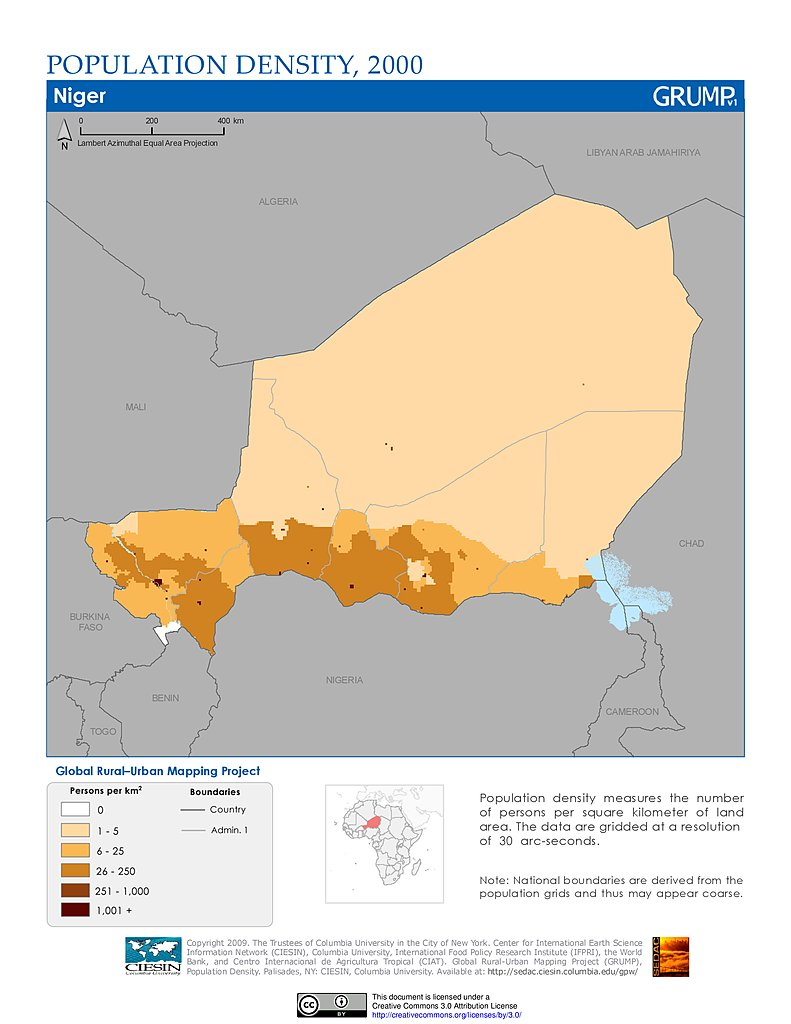 Maps Population Density Grid V SEDAC - Niger map hd pdf