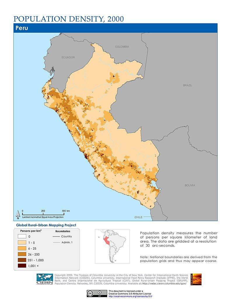 Population Density Map Of Peru Maps » Population Density Grid, v1: | SEDAC