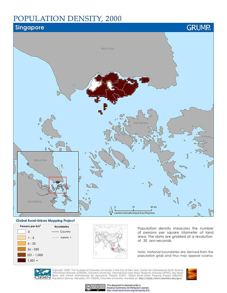 Maps Population Density Grid V SEDAC - Singapore map 1990
