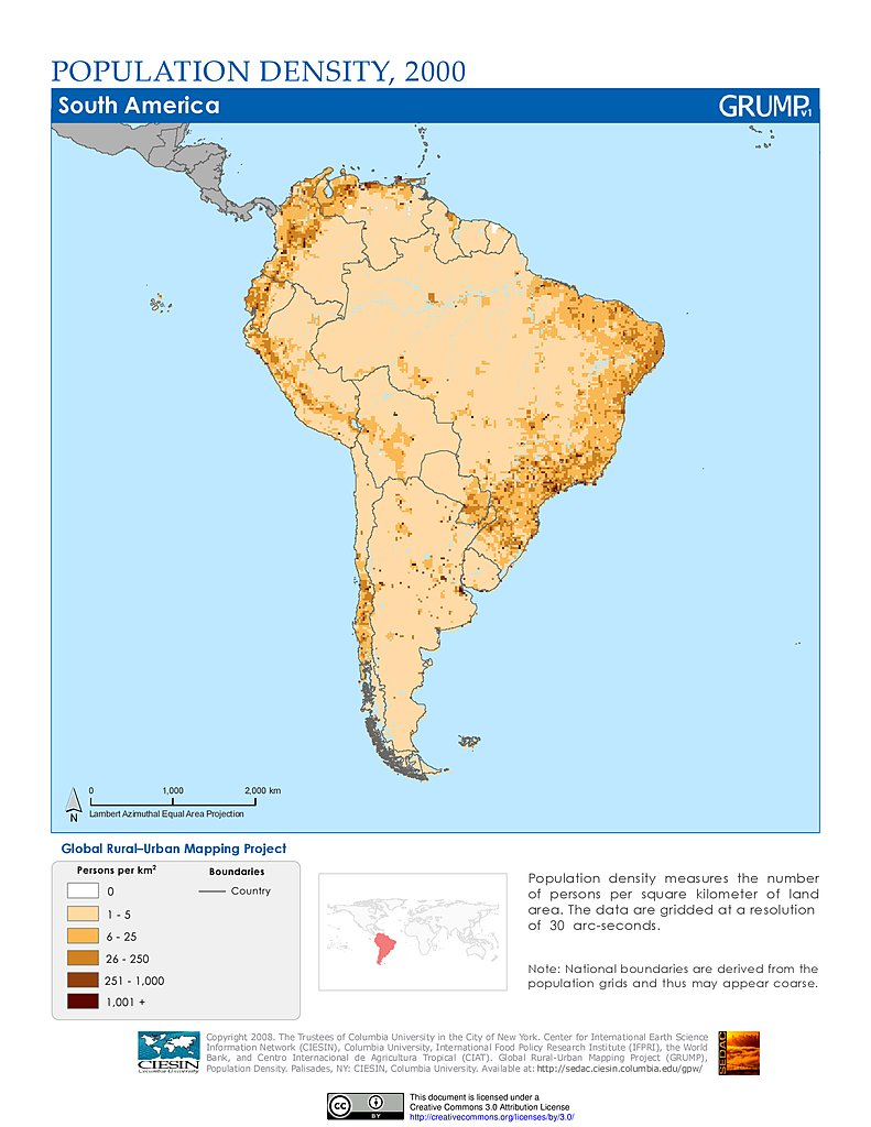 Maps Population Density Grid V SEDAC - Map south america