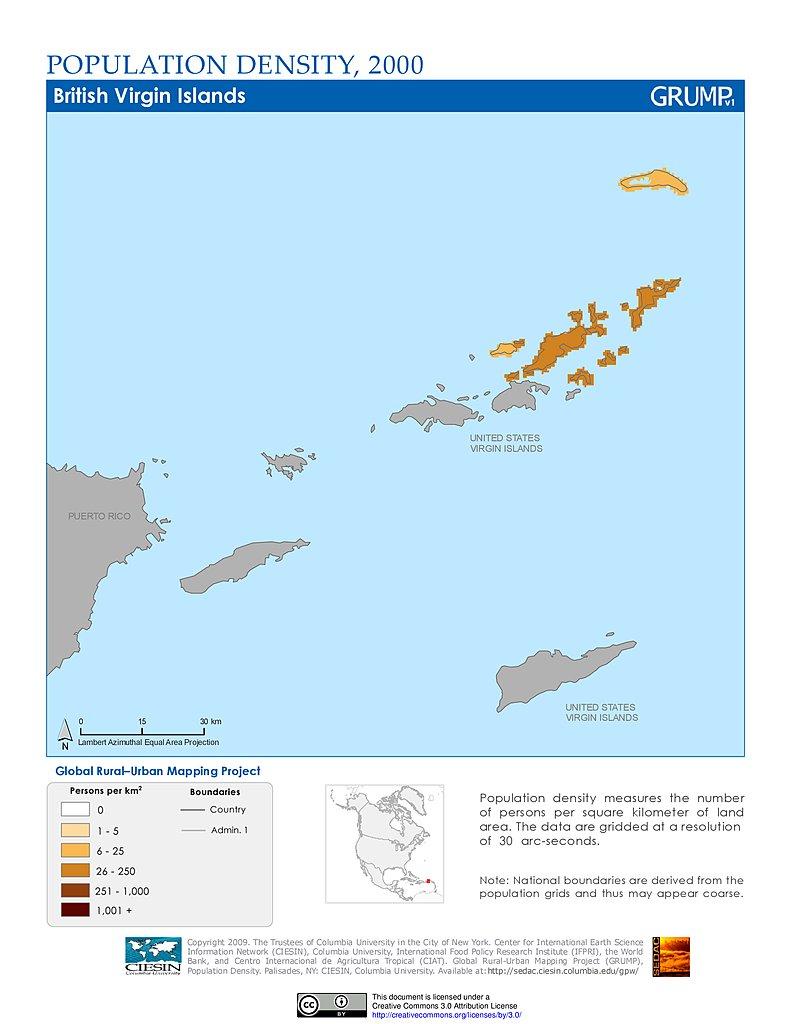Population Density 2000 British Virgin Islands