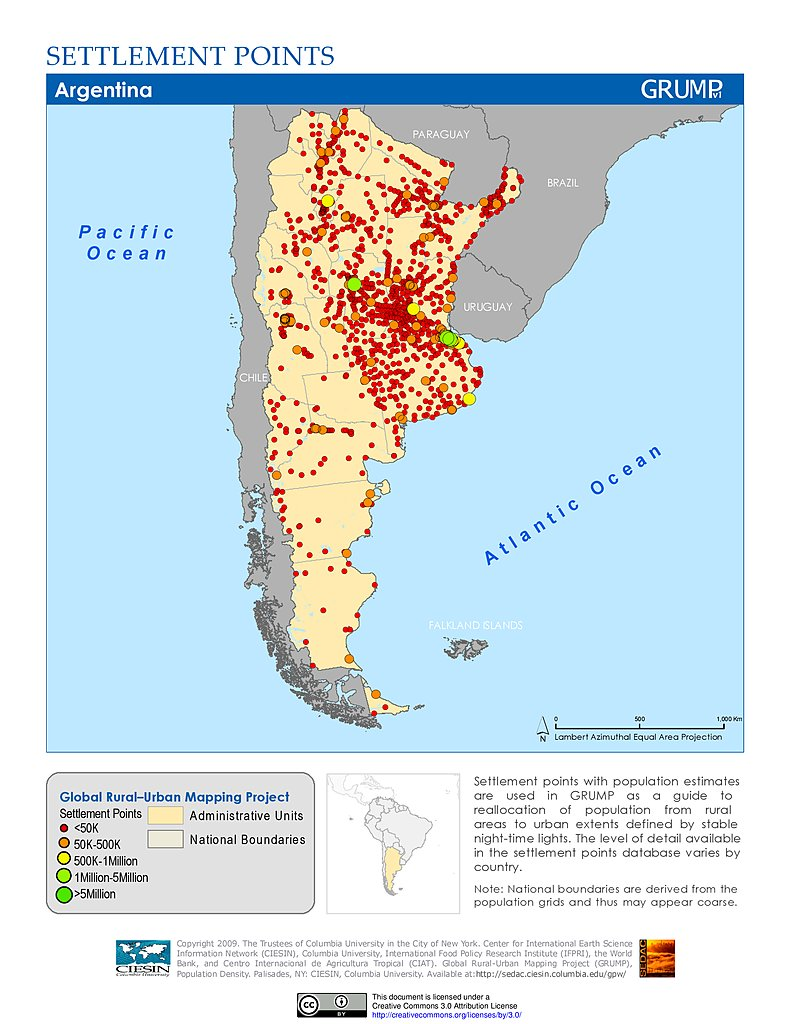 Map Gallery SEDAC - Argentina agriculture map