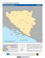 Map: Settlement Points: Bosnia & Herzegovina