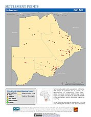 Map: Settlement Points: Botswana