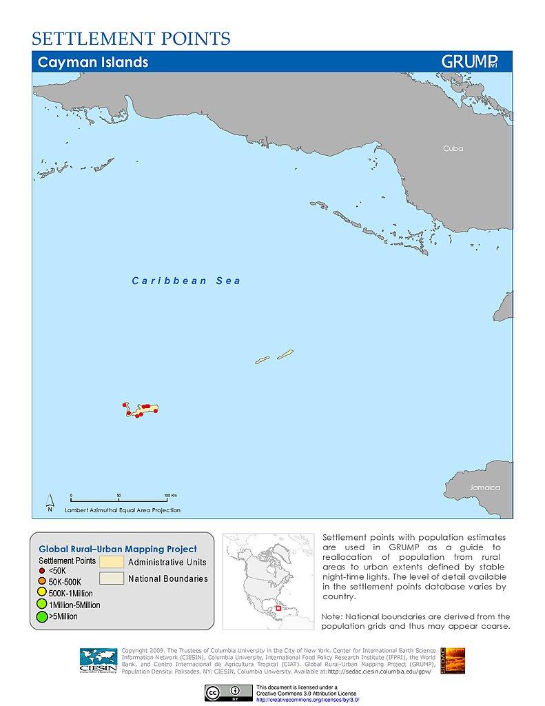 Map Gallery SEDAC - Cayman islands cities map