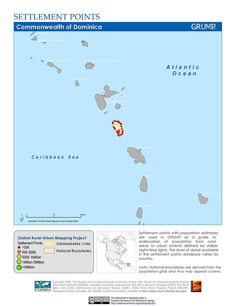 Map Gallery SEDAC - Dominica map hd pdf