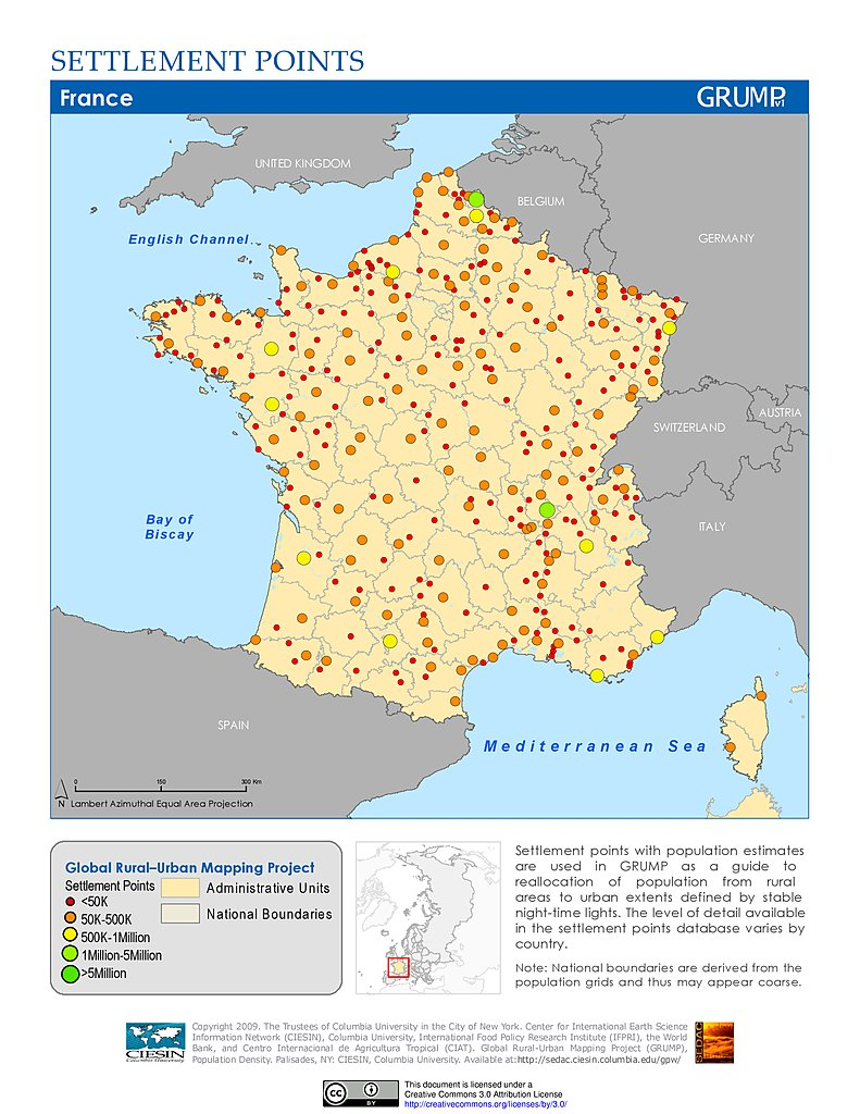 Map Of France Germany.Maps Global Rural Urban Mapping Project Grump V1 Sedac