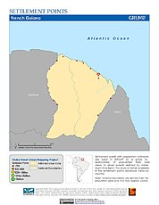 Map: Settlement Points: French Guiana