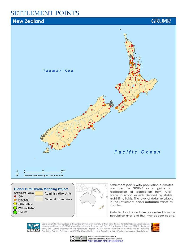 New Zealand Map Pdf.Maps Settlement Points V1 Sedac