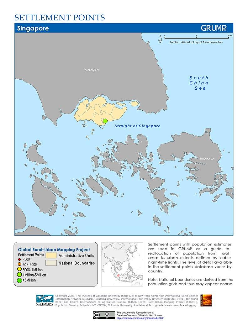 Maps Settlement Points V SEDAC - Singapore map 1990