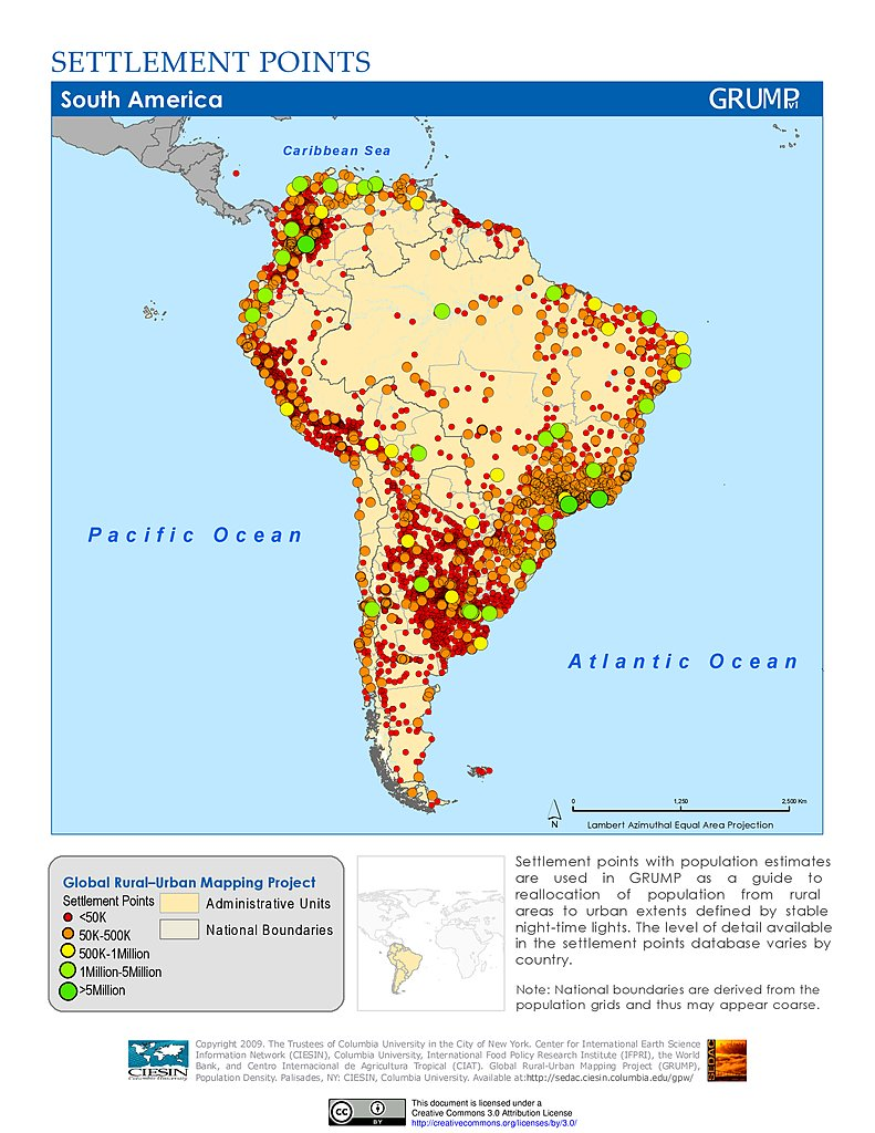 Map Gallery SEDAC - South american population map