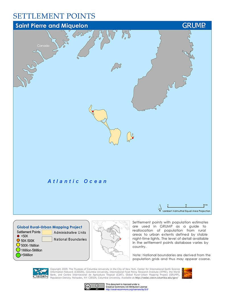 Maps Global RuralUrban Mapping Project GRUMP V SEDAC - Saint pierre and miquelon map