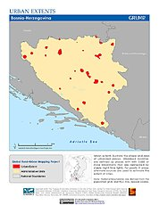 Map: Urban Extents: Bosnia & Herzegovina