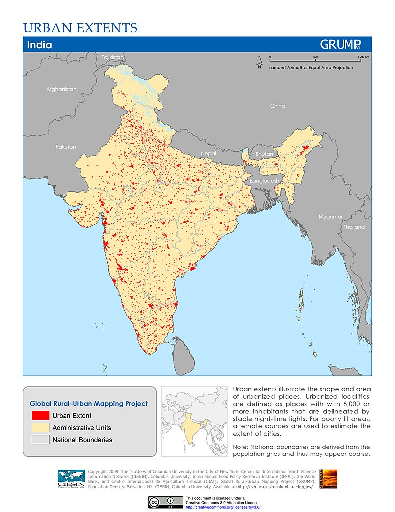 Maps global rural urban mapping project grump v1 sedac urban extents india gumiabroncs Images