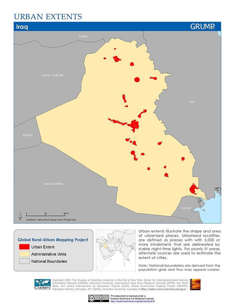World Map Kuwait City. Urban Extents  Iraq Maps Global Rural Mapping Project GRUMP v1 SEDAC