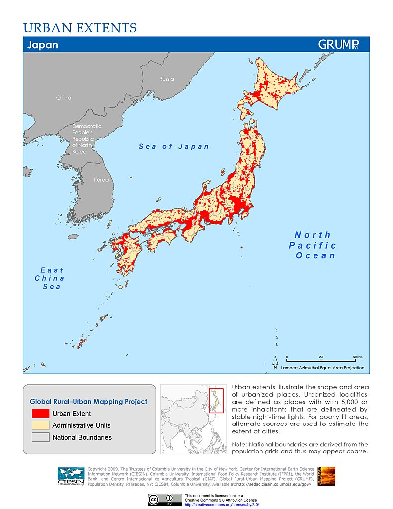 Maps Global RuralUrban Mapping Project GRUMP V SEDAC - Japan map center