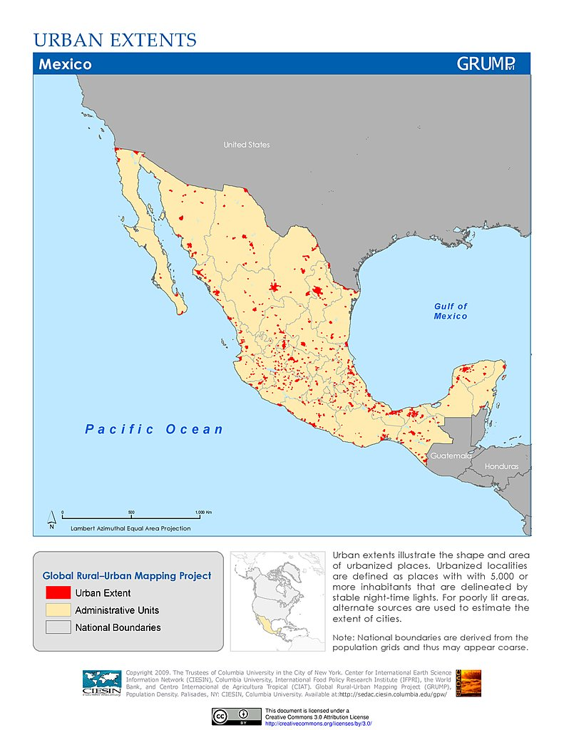Columbia Mexico Map.Maps Global Rural Urban Mapping Project Grump V1 Sedac
