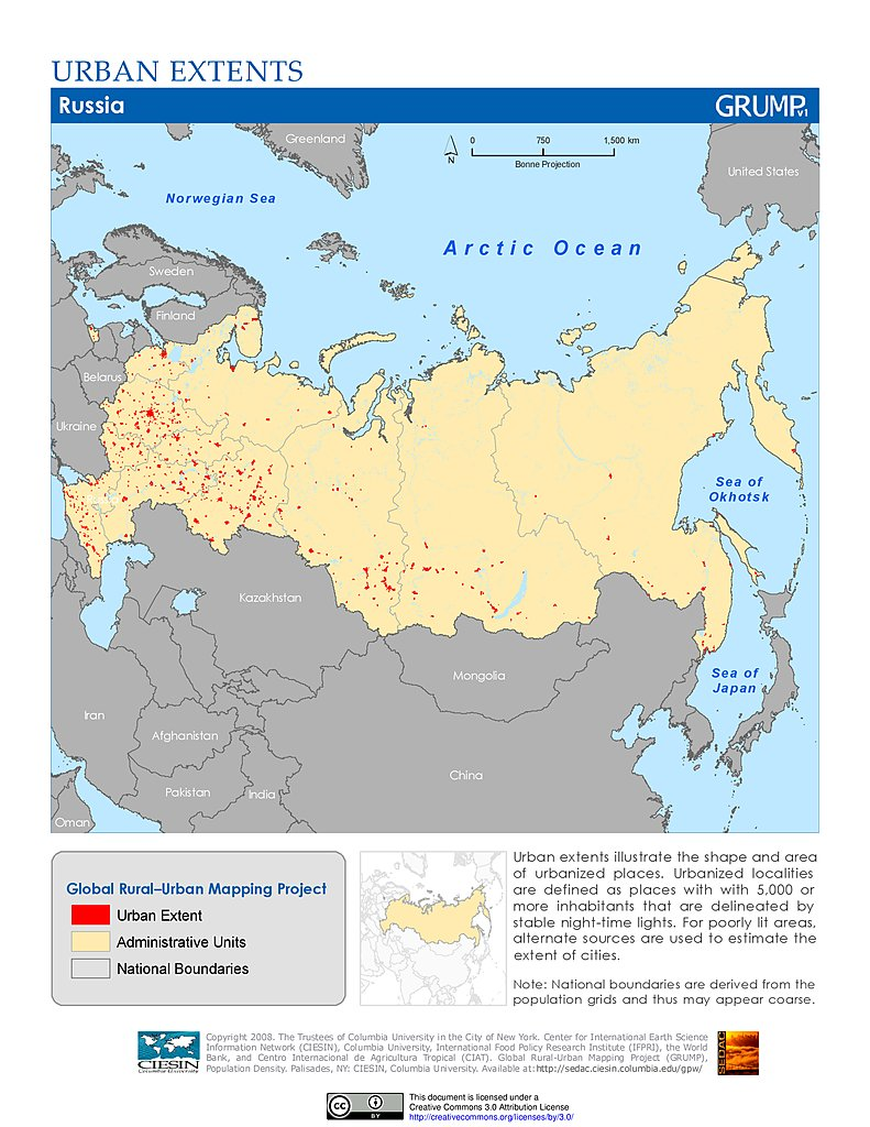Map Gallery SEDAC - Russia administrative map