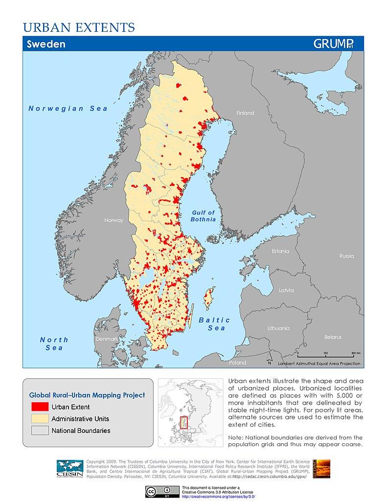 Map Gallery SEDAC - Sweden map pdf