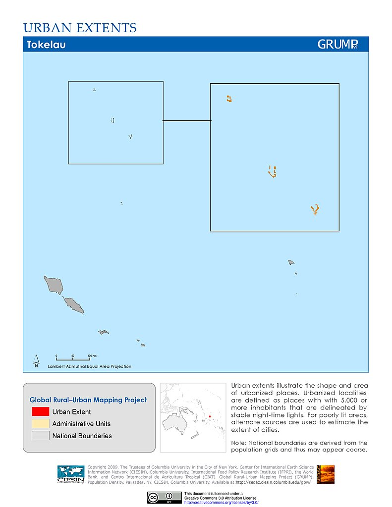Map Gallery SEDAC - Tokelau map