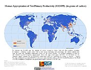 Map: Human Appropriation of Net Primary Productivity