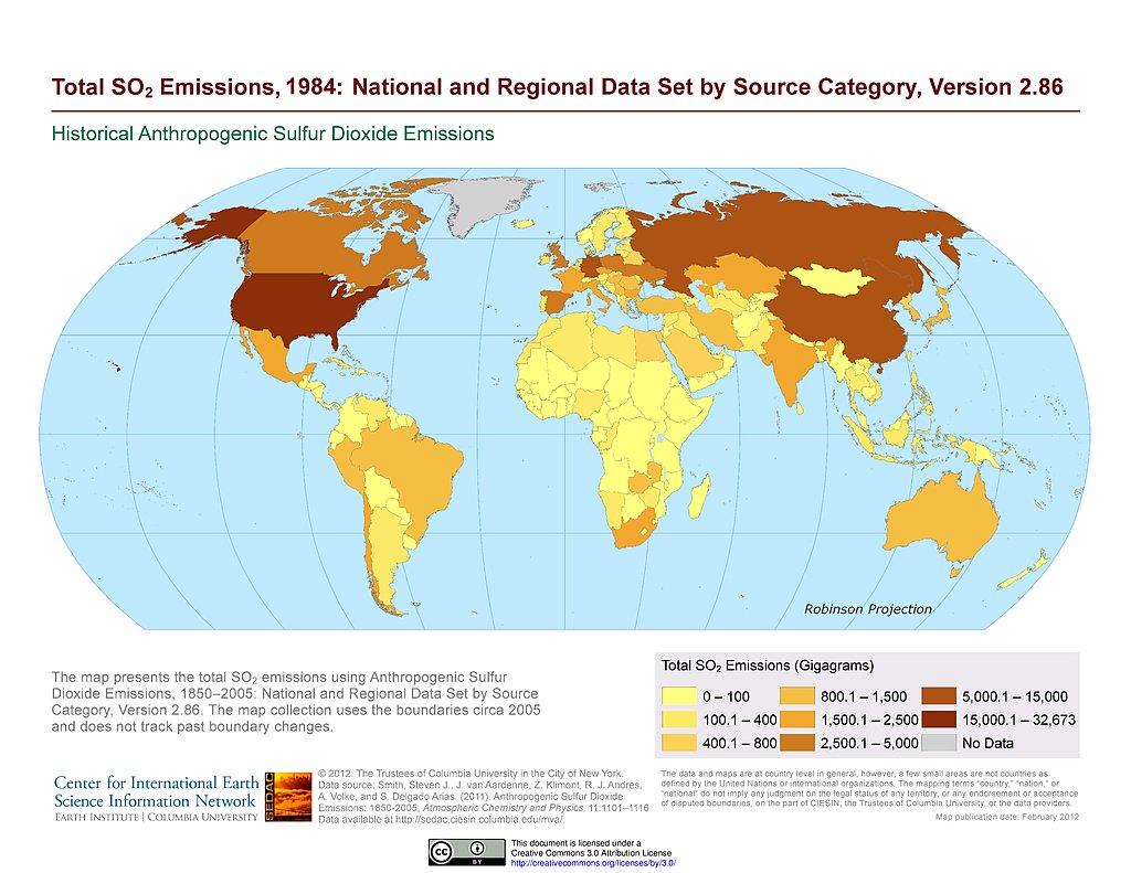 Maps » Historical Anthropogenic Sulfur Dioxide Emissions | SEDAC  Map on