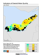 Map: % Chlorophyll-a Concentration Change (1998-2007): Abu Dhabi