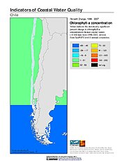 Map: % Chlorophyll-a Concentration Change (1998-2007): Chile