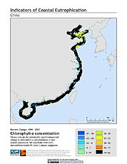 Map: % Chlorophyll-a Concentration Change (1998-2007): China