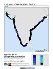 Map: % Chlorophyll-a Concentration Change (1998-2007): India
