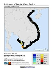 Map: % Chlorophyll-a Concentration Change (1998-2007): Vietnam & Cambodia
