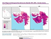 Map: India Female Literates (1991, 2001): State of Gujarat