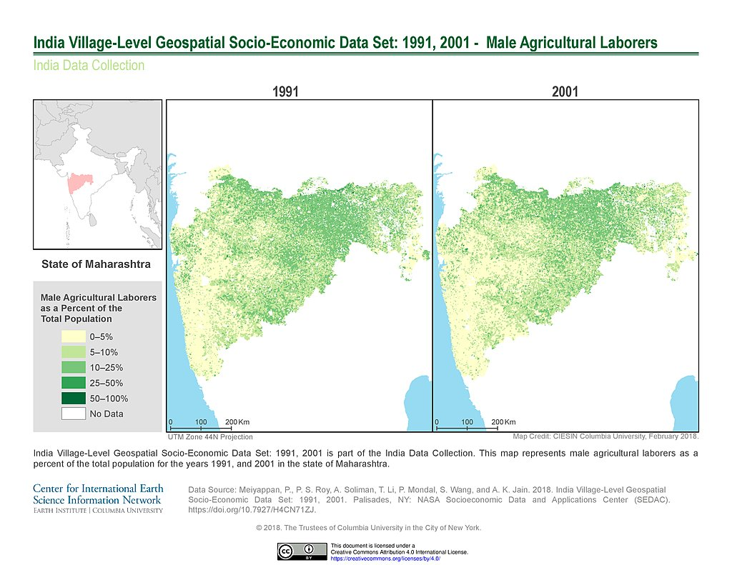 Maps india data collection sedac india male agricultural laborers 1991 2001 state of maharashtra gumiabroncs Choice Image